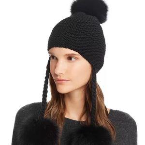 NEW Aqua Fox Fur Knit Pom Pom Hat
